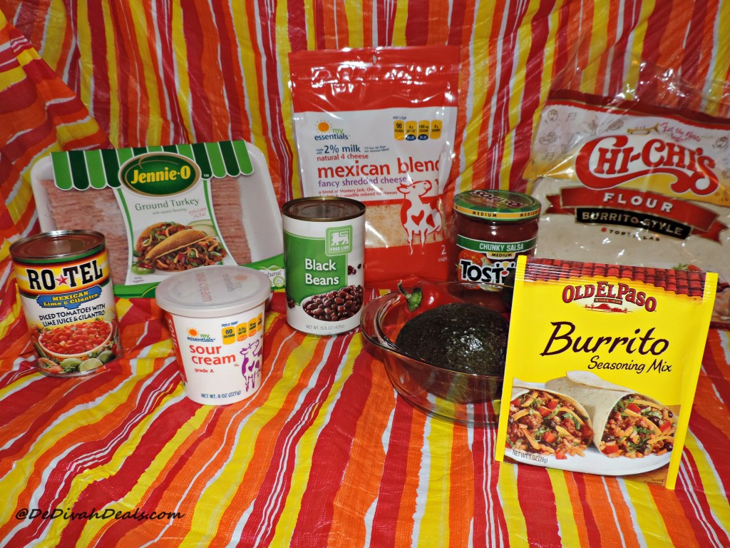 Ingredients for Ground Turkey and Bean Burrito